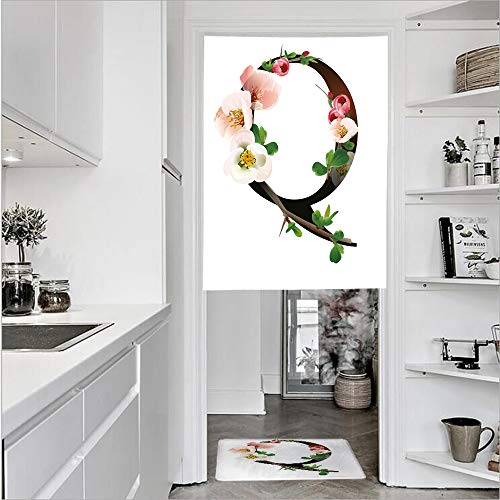 3D Printed Linen Textured French 1 Panel Door Curtains and 1pcs Doormat Kitchen Mat Rug,Pinkish Quince Flowers and Buds Abstract SpringSingle Panel door curtain 31.5