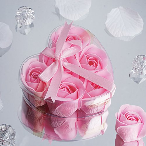 BalsaCircle 50 Pink Cute Favor Heart Gift Boxes with 6 Rose Petal Soaps for Wedding Party Birthday Gifts Decorations Supplies