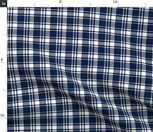 Spoonflower Navy Fabric - Plaid Trendy Fall Navy and White Tartan Plaid Fabric Print on Fabric by The Yard - Lightweight Cotton Twill for Sewing Bottomweight Fashion Apparel Home Decor ()