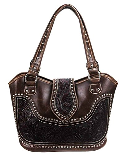 Montana West Concealed Carry Purse Tooled Leather Handbag Western Purse Coffee