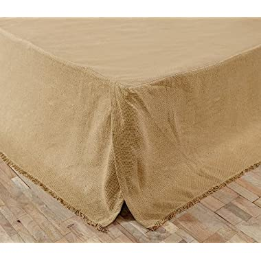 Burlap Natural Fringed King Bed Skirt 78x80x16