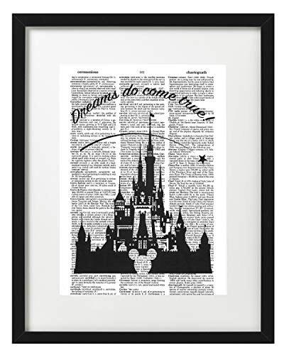 - Signature Studios Walt Disney Castle Quote Dictionary Art Print Silhouette Wall Decor Photo upcycled Mixed Media Art 8x10