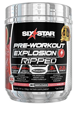 Six Star Explosion Ripped Pre Workout Thermogenic, Preworkout Energy, Weight Loss, Watermelon, 30 Servings, 5.91 Ounce, Pack of 1 - L-tyrosine Fat Burner