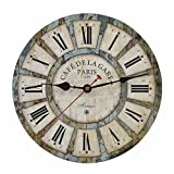 Old Oak 12-Inch Vintage Silent Non-Ticking Battery Operated Decorative Wall Clock for Kitchen Living Room Bathroom Bedroom Indoor Home Wall Decor with Roman Numerals
