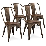 Best Choice Products Set of 4 Industrial Distressed Metal Bistro Dining Side Chairs w/Wood Seat (Copper Bronze) For Sale