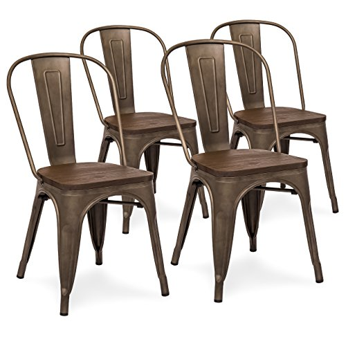 Best Choice Products Set Of 4 Industrial Distressed Metal Bistro Dining Side Chairs w/ Wooden Seat (Bistro Dining)