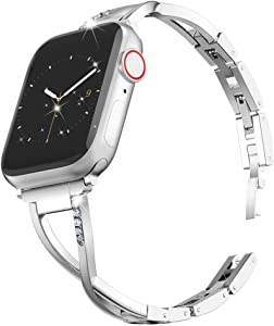 Marge Plus Compatible with Apple Watch Band 38mm 40mm with Case, Women Bling Wristband for iWatch SE Series 6 5 4 3 2 1