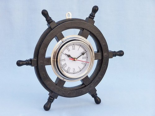"""Deluxe Class Wood and Chrome Pirate Ship Wheel Clock 12"""" - Wood Ship Wheel Cloc"""