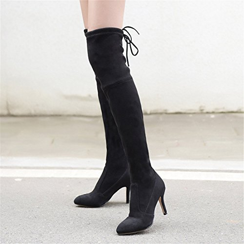 Sandalette big sharp Black DEDE States Europe Knee United big size heel high Boots wind fashion boots head and Boots the Knee rnrRqAZw