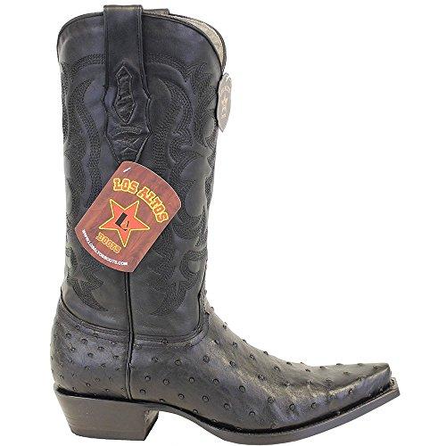 b54cb4e6f52 Genuine OSTRICH QUILL BLACK SNIP Toe Los Altos Men's Western Cowboy ...