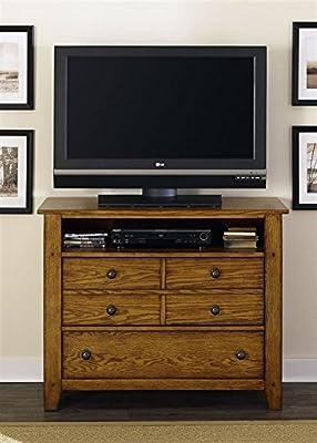 "Liberty Furniture 175-BR45 Grandpa's Cabin Media Chest, 42"" x 18"" x 35"", Aged Oak"