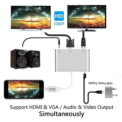 TheCoolCube Compatible Lightning Digital AV Adapter ink-topoint Lightning to HDMI & VGA & Audio iPad iPhone X 8 7 6 Plus
