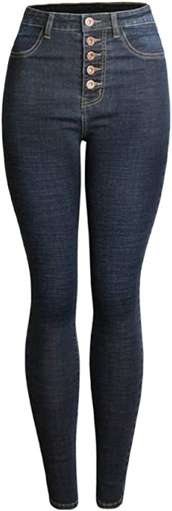 JYKING - Pantalones Vaqueros para Mujer, elásticos, Cintura Alta, Color Azul Oscuro