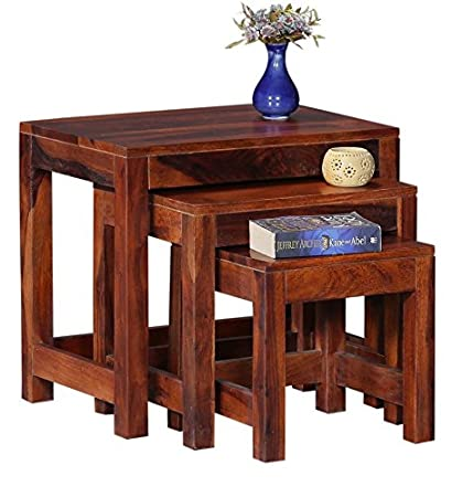 Ringabell Ronald Solid Wood Nest of Table Set of 3 (Honey Oak)