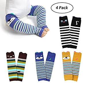 Auranso Baby Toddler Girls Leggings 4 Pack Cable Knit Tights Solid Cotton Warmer Leggings Stocking Pants 1-6T