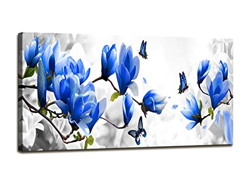 Baisuart Canvas Prints Wall Art Blue Flowers with Butterfly Stretched Canvas Wooden Framed for living Room Bedroom and Office