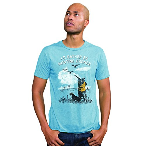 Headline Shirts I'd Rather Be Hunting Drones Funny Graphic Screen Printed Crewneck T-Shirt for Men - XL ()
