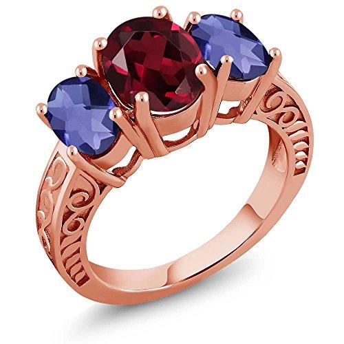 3.30 Ct Oval Red Rhodolite Garnet Blue Iolite 18K Rose Gold Plated Silver Ring