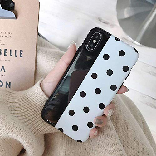 Phone Case for iPhone 6 6s 7 8 Plus X XR XS Max Fashion Cute Cartoon Wine Red Wave Point Soft IMD for iPhone X Case Capa Black for iPhone 8 ()