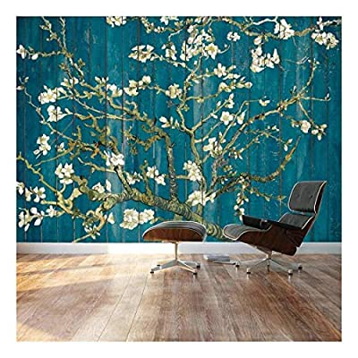 Almond Blossom by Vincent Van Gogh Floral Painting on a Vibrant Teal Wood Paneled Background Wall Mural, That You Will Love, Majestic Design
