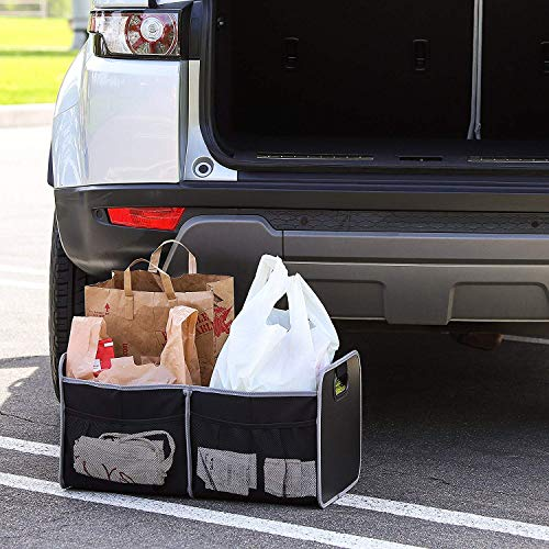 Car Trunk Organizer - Premium Water Resistant Grocery Storage Bag with Strong Handles - Collapsible Design