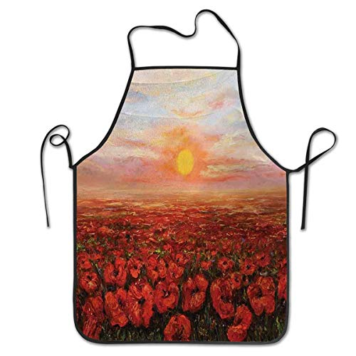 Unisex kitchen bib Apron with adjustable neck cooking baking gardening Flower Wild Opium Poppy With Petals Field in Front of Sunset Artistic PictureProfessional barbecue, baking, men's cooking - Iowa Hawkeyes Set Apron
