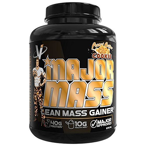 VMI Sports, Major Mass Lean Mass Gainer, Peanut Butter Cookie, 60 Scoops (4 lbs.) Protein Powder with Protein to Carbohydrates to Fats Ratio for Lean Muscle Mass & Weight Gaining, Pre- or Post-Workout