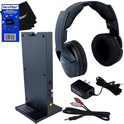 Sony Hd Output Adapter (Sony MDRRF985RK Wireless RF (Radio Frequency) Headphone with Transmitter Base Station + Stereo Connecting Cable + AC adaptor + HeroFiber Ultra Gentle Cleaning)