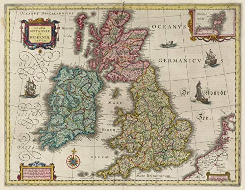(Color Vintage Map of England Ireland Scotland Fine Art Print Reproduction)