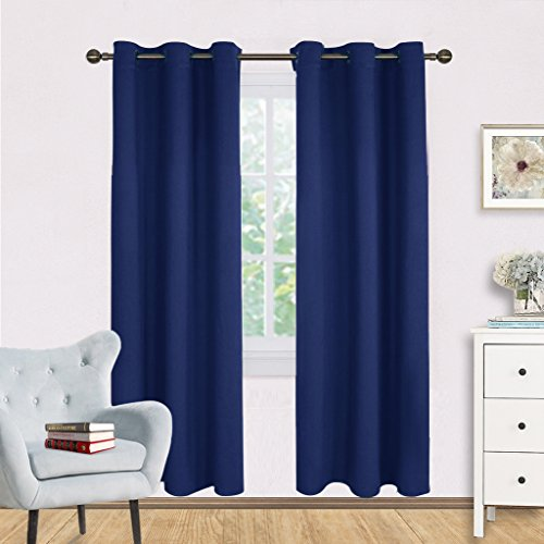 Living Room Blackout Draperies Curtains - NICETOWN Window Treatment Energy Saving Thermal Insulated Solid Grommet Blackout Draperies / Drapes (1 Pair,42 by 72-Inch,Navy Blue) (Ideas Curtain Living Blue Room For)