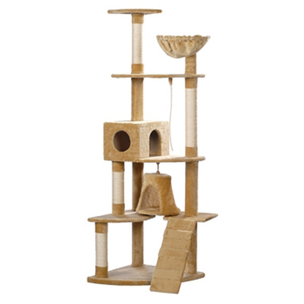 Festnight 75 Inch Plush Cat Climbing Condo Tree with Scratching Post and Toys Stair Pet Play House Kitten Activity Tower Furniture