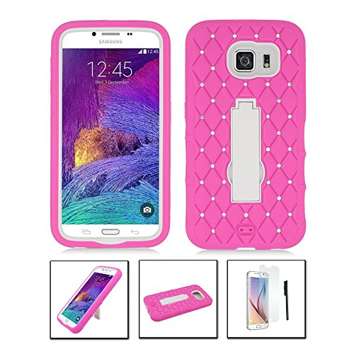 Samsung Galaxy S6 Case, JoJoGoldStar® Diamond R Stand Hybrid, Slim Fit Heavy Duty Shockproof Plastic & Silicone TPU Hard Cover with Kickstand + Stylus and Screen Protector (Pink / ()