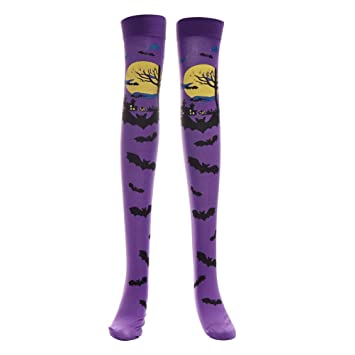 5502be949 Buy 1Pair Halloween Cosplay Sexy Soft Stockings Over The Knee High Socks  Bat Pattern Long Stockings for Women Girls (Purple) Online at Low Prices in  India ...