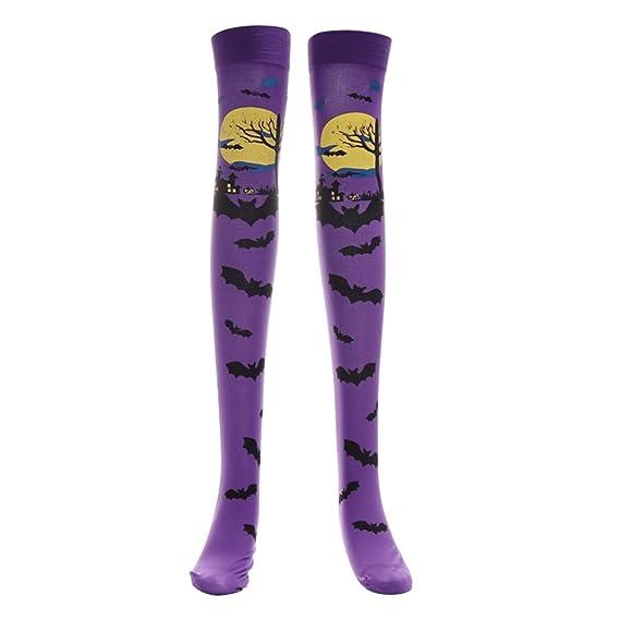 OULII Cosplay de Halloween Medias suaves sobre la rodilla Calcetines altos Patrón de murciélago Medias largas