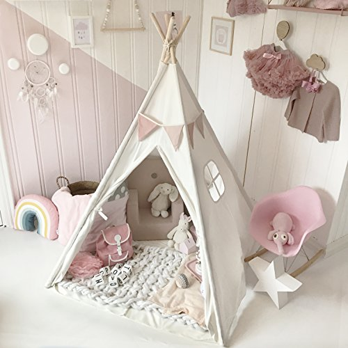 Tiny Land Kids Teepee Tent Children Play Tent with Mat & Carry Case for Indoor Outdoor, 5' Raw White Canvas (Play Tent Canopy)