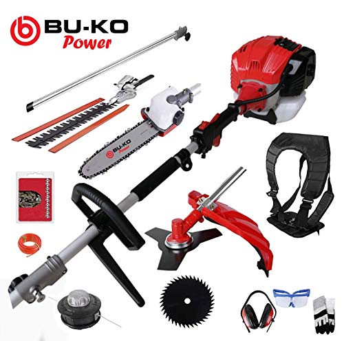 BU-KO 52cc Long Reach Petrol Multi Functional Garden Tool Including: Strimmer, Hedge Trimmer, Pruner Chainsaw, Brush Cutter with 2.4mm Thick Trimmer Line & 1m Extension Pole