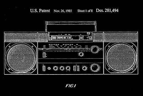1985 - Portable Cassette Player, Tuner, Amplifier & Speakers - Patent Art Poster