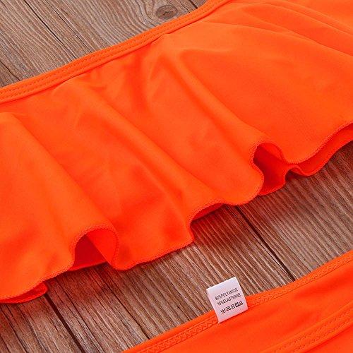 SKY 1Set mujeres Bikini traje de color sólido flounced dividida palabra sujetador hombro Bathing Swimsuit Beachwear Orange