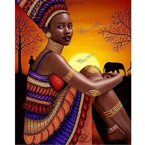 Sun Diamond Girl - FengGa 5D Diamond Painting Set Full Diamond Sunset African Woman Black Girl DIY Rhinestone Embroidery Diamond Painting Cross Stitch Art Craft Home Wall Livimng Room Decoration