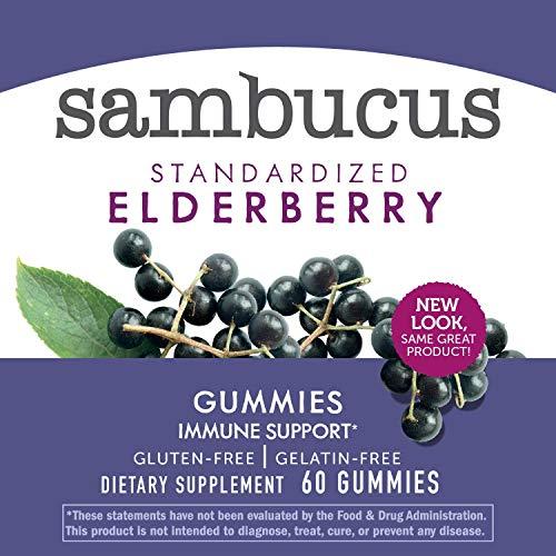 Nature's Way Sambucus Elderberry Gummies, Herbal Supplements with Vitamin C and Zinc, Gluten Free, Vegetarian, 60 Gummies by Sambucus (Image #4)