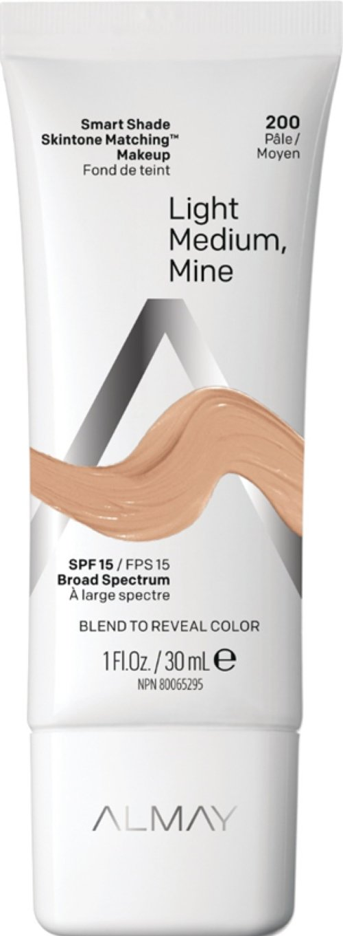 Almay Smart Shade Skintone Matching Makeup, Hypoallergenic, Cruelty Free, Oil Free, Fragrance Free, Dermatologist Tested Foundation with SPF 15, Light, Medium Mine, 1oz