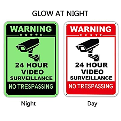 "Elenxs Video Surveillance Sign -24 Hour CCTV Security Signs, Aluminum Glow-in-the-dark No Trespassing Warning for Home & Business Security(40Mil,10"" X 14"") from Elenxs"
