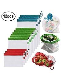 Bolsas reutilizables de malla de producción Bolsas lavables para almacenaje de tiendas de comestibles, frutas, vegetales y juguetes costuras dobles, resistentes, con etiquetas que indican el peso y en varios tamaños(Set de 12 piezas)