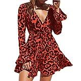 Hotkey Women's Dresses Long Sleeve Womens Leopard Print V Neck Bandage Long Flare Sleeve Beach Casual Dress Red