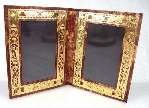 BonBalloon LEATHER Egyptian Hand Made Double Picture Frame Genuine Leather Handcrafted Ethnic 221
