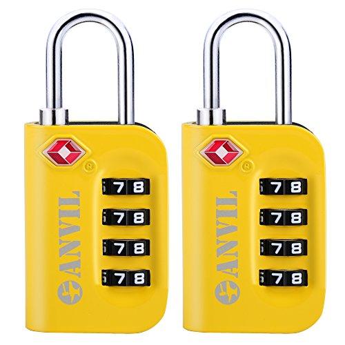 TSA Luggage Locks (2 Pack) - 4 Digit Combination Steel Padlocks - Approved Travel Lock For Suitcases & Baggage (YELLOW 2 (Combination Luggage Lock)