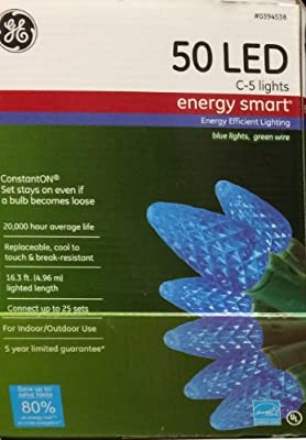 GE Assorted 50-Count LED C5 Blue 394538 Christmas String Lights ENERGY STAR