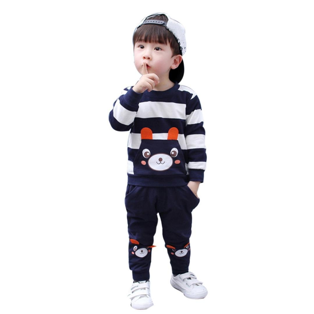 Toddler Baby Boys Striped Bear Long Sleeve Tops Sweatsuit Pants Outfit Set