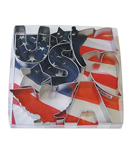 Flag Cookie Cutter - R&M International 1904 USA Patriotic Cookie Cutters, 2 Stars, Flag, Eagle, Heart, Letters U, S, A, 8-Piece Set