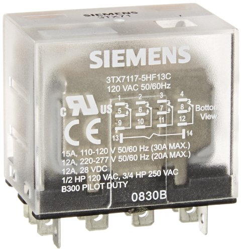 Siemens 3TX7117-5HF13C Basic Plug In Relay, Square Base, Narrow, Mechanical Flag, 4PDT Contacts, 15A Contact Rating, 120VAC Coil Voltage Mechanical Relay
